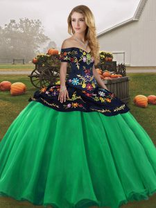 Turquoise Off The Shoulder Neckline Embroidery Quinceanera Gowns Sleeveless Lace Up
