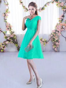 Turquoise Lace Up Wedding Party Dress Ruching Cap Sleeves Mini Length