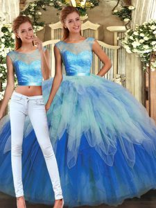 Cute Sleeveless Lace and Ruffles Backless Quinceanera Gowns