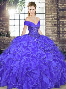 Clearance Floor Length Lavender Ball Gown Prom Dress Off The Shoulder Sleeveless Lace Up