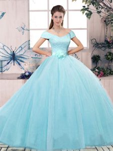 Lovely Off The Shoulder Short Sleeves Tulle Quinceanera Gowns Lace and Hand Made Flower Lace Up