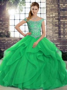 Sleeveless Tulle Brush Train Lace Up Quinceanera Dress in Green with Beading and Ruffles