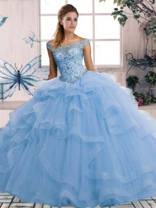Blue Ball Gowns Beading and Ruffles Vestidos de Quinceanera Lace Up Tulle Sleeveless Floor Length