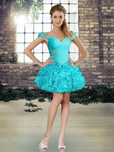 Enchanting Aqua Blue Dress for Prom Wedding Party with Beading and Ruffles Off The Shoulder Sleeveless Lace Up
