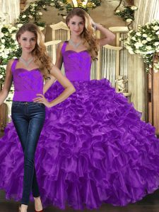 Purple Halter Top Lace Up Ruffles Quinceanera Dress Sleeveless