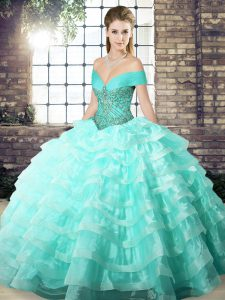 Fantastic Off The Shoulder Sleeveless Organza Quinceanera Dresses Beading and Ruffled Layers Brush Train Lace Up