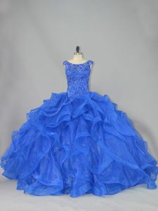 Organza Scoop Sleeveless Brush Train Lace Up Beading and Ruffles Quince Ball Gowns in Royal Blue
