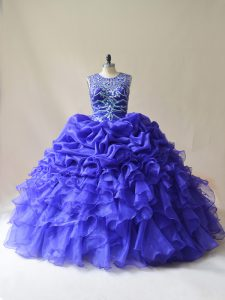 Excellent Floor Length Purple Sweet 16 Quinceanera Dress Scoop Sleeveless Lace Up