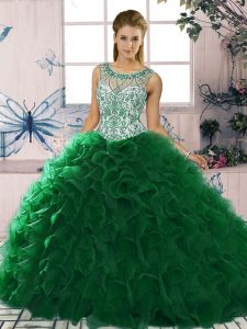 Designer Dark Green Sleeveless Floor Length Beading and Ruffles Lace Up Sweet 16 Quinceanera Dress