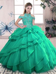 Turquoise Organza Lace Up High-neck Sleeveless Floor Length Vestidos de Quinceanera Beading and Ruffles