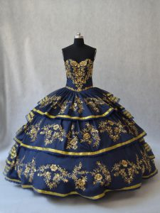 New Arrival Navy Blue Sleeveless Organza Lace Up Quinceanera Gown for Sweet 16 and Quinceanera