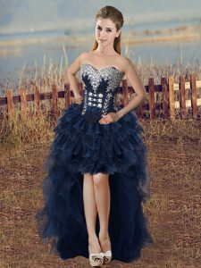 Modest Sleeveless High Low Beading and Ruffled Layers Lace Up Evening Dress with Navy Blue
