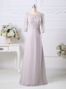 Pretty Floor Length Empire 3 4 Length Sleeve Pink Prom Gown Zipper