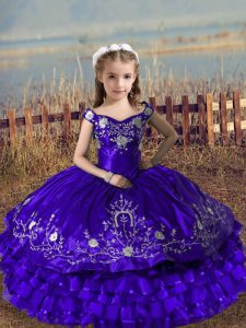 Ball Gowns Pageant Dress for Womens Purple Off The Shoulder Satin and Organza Sleeveless Floor Length Lace Up