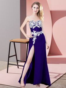 Smart Purple Column/Sheath Sweetheart Sleeveless Chiffon Floor Length Lace Up Lace and Appliques Homecoming Dress