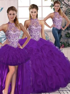 Dynamic Purple Lace Up Halter Top Beading and Ruffles Ball Gown Prom Dress Tulle Sleeveless