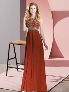 Rust Red Backless Winning Pageant Gowns Beading Sleeveless Floor Length