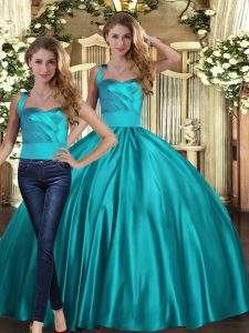 Two Pieces Quinceanera Gown Teal Halter Top Satin Sleeveless Floor Length Lace Up