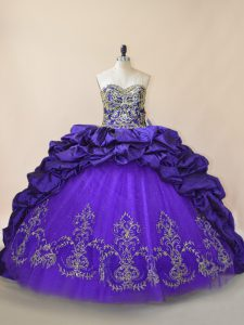 Discount Sweetheart Sleeveless Satin and Organza Quince Ball Gowns Embroidery and Pick Ups Brush Train Lace Up