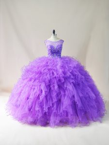 Modern Purple Ball Gowns Beading and Ruffles Sweet 16 Dress Lace Up Tulle Sleeveless Floor Length