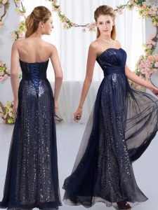 Chiffon and Sequined Sleeveless Floor Length Bridesmaids Dress and Sequins