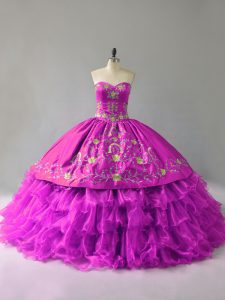 Nice Purple Organza Lace Up Quinceanera Dress Sleeveless Floor Length Embroidery and Ruffles