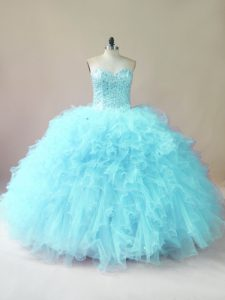 Low Price Sleeveless Tulle Floor Length Lace Up Quinceanera Gowns in Aqua Blue with Beading and Ruffles
