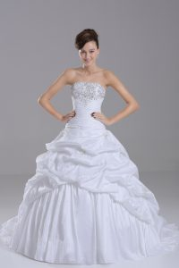 Shining Strapless Sleeveless Wedding Gowns Brush Train Beading and Pick Ups White Taffeta