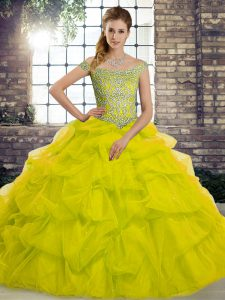 Exquisite Sleeveless Tulle Brush Train Lace Up Vestidos de Quinceanera in Yellow Green with Beading and Pick Ups