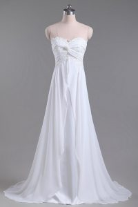 Beading and Lace Wedding Gowns White Lace Up Sleeveless Brush Train