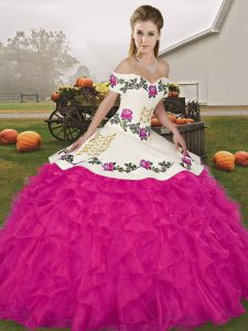 Simple Sleeveless Lace Up Floor Length Embroidery and Ruffles Sweet 16 Dress