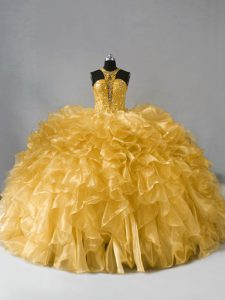 Glorious Gold Zipper Vestidos de Quinceanera Beading and Ruffles Sleeveless Floor Length