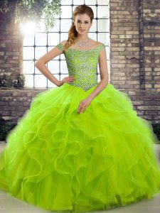 Lovely Lace Up Quinceanera Gown Beading and Ruffles Sleeveless Brush Train