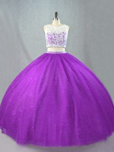 Purple Zipper Ball Gown Prom Dress Beading Sleeveless Floor Length
