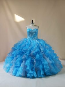 Best Organza Sleeveless Floor Length Ball Gown Prom Dress and Beading and Ruffles