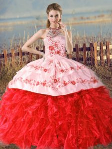 Customized Halter Top Sleeveless Quince Ball Gowns Floor Length Court Train Embroidery and Ruffles Red Organza