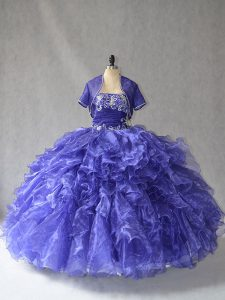 Suitable Sleeveless Floor Length Beading and Ruffles Lace Up Sweet 16 Quinceanera Dress with Blue