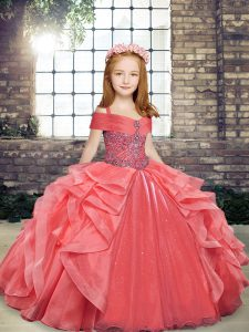 Custom Fit Coral Red Sleeveless Floor Length Beading and Ruffles Lace Up Girls Pageant Dresses