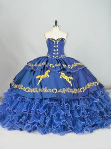 High Quality Sweetheart Sleeveless Brush Train Lace Up 15 Quinceanera Dress Blue Satin and Organza