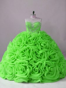 Dynamic Sleeveless Beading Lace Up Sweet 16 Quinceanera Dress with Brush Train
