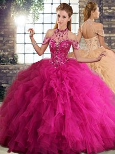 Smart Halter Top Sleeveless Lace Up Sweet 16 Quinceanera Dress Fuchsia Tulle