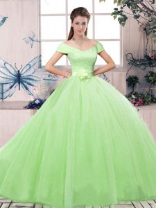 Affordable Ball Gowns Lace and Hand Made Flower 15th Birthday Dress Lace Up Tulle Short Sleeves Floor Length