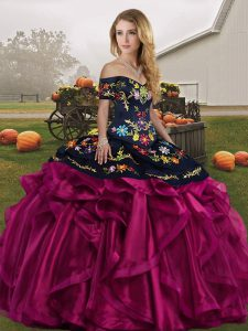 Ball Gowns Sweet 16 Dresses Fuchsia Off The Shoulder Organza Sleeveless Floor Length Lace Up