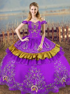 Classical Purple Satin and Organza Lace Up Sweet 16 Quinceanera Dress Sleeveless Floor Length Embroidery
