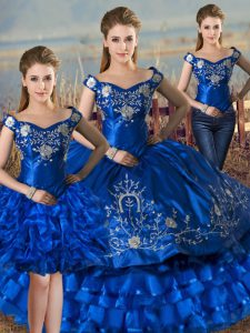 Comfortable Satin and Organza Off The Shoulder Sleeveless Lace Up Embroidery and Ruffled Layers Ball Gown Prom Dress in Royal Blue