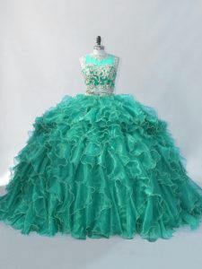Lovely Turquoise Sleeveless Brush Train Beading and Ruffles Sweet 16 Dress
