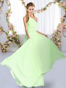 Dazzling Yellow Green Vestidos de Damas Wedding Party with Ruching One Shoulder Sleeveless Lace Up