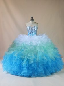 Multi-color Sleeveless Organza Lace Up Sweet 16 Quinceanera Dress for Sweet 16 and Quinceanera