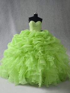 Admirable Sweetheart Lace Up Beading and Ruffles and Pick Ups Quinceanera Dresses Sleeveless