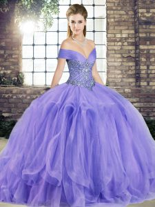 Hot Selling Lavender Tulle Lace Up Sweet 16 Quinceanera Dress Sleeveless Floor Length Beading and Ruffles
